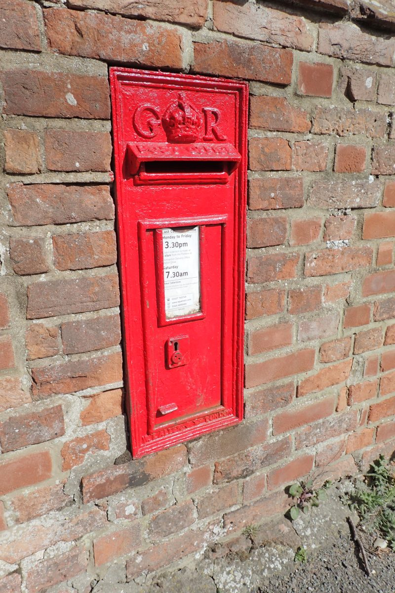 Wall post box at Burnham, Overy Staithe