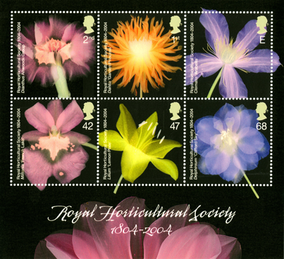 A miniature sheet depicting six images of flowers to celebrate the Royal Horticultural Society.