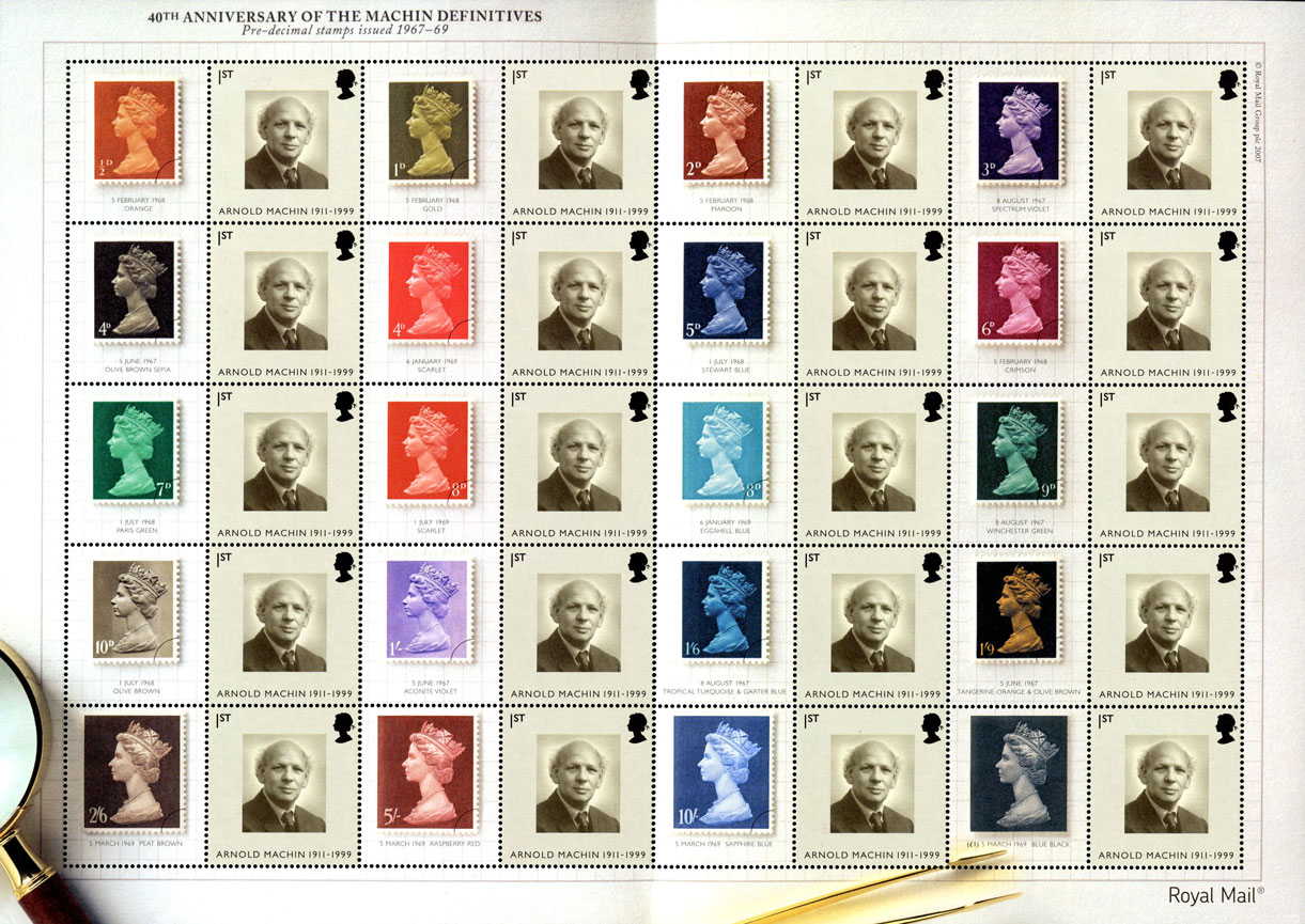 A sheet which consists of different colour Machin stamps and images of or Arnold Machin