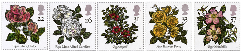 Five stamps depicting different varieties of roses.
