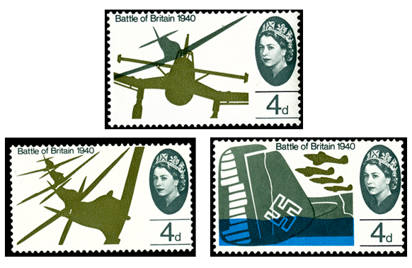 three stamps from the David Gentleman Battle of Britain series