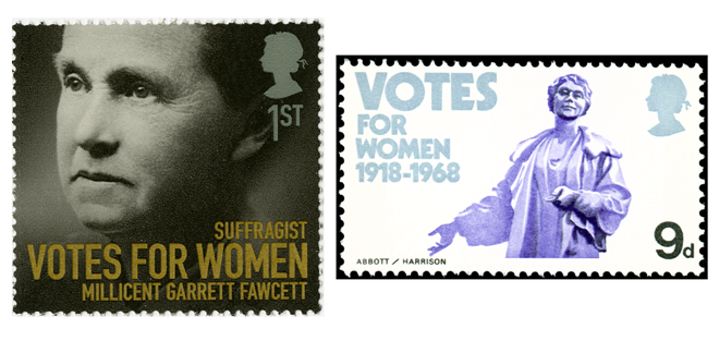 two stamps depicting suffragettes
