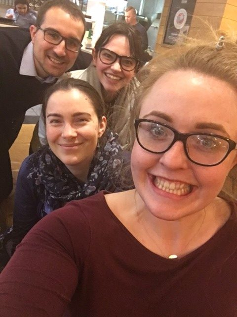 From left to right: Davide, Elizabeth (our Senior Visitor Experience Manager), Tash and Penny after a team meeting