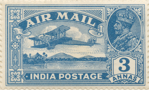 First Indian pictorial stamp depicting a de Havilland DH.66 Hercules plane, issued 1929.