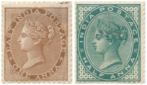 Two stamps of Queen Victoria used in British India, one with the words East India Postage and the other simply India Postage.