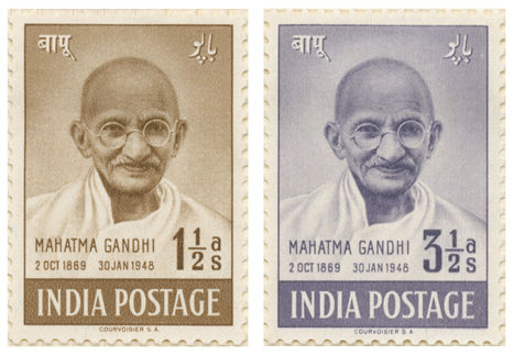 Two stamps depicting images of Mahatma Gandhi for the first anniversary of Indian Independence.