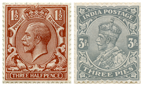 Two stamps depicting King George V by Betram Mackennal, one for Great Britain and the other for British India.