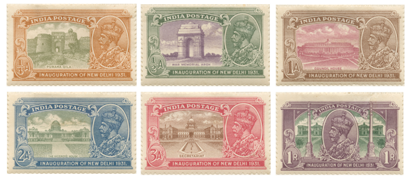 Six stamps for British India depicting sites connected with the inauguration of New Delhi.