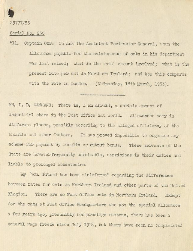Typed minutes of a meeting discussing payment of post office cats