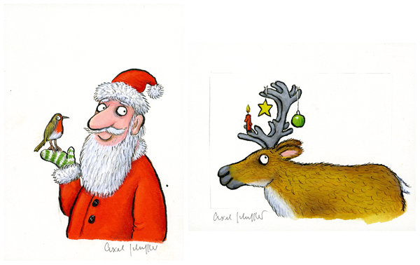 Two paintings; one of Father Christmas holding a robin and the other of a reindeer.