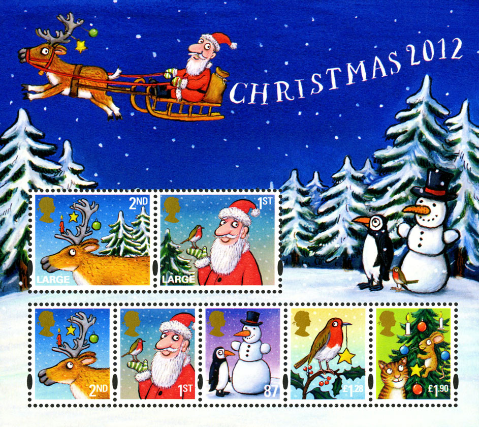 Miniature sheet of seven stamps consisting of Father Christmas, a snowman and a robin.