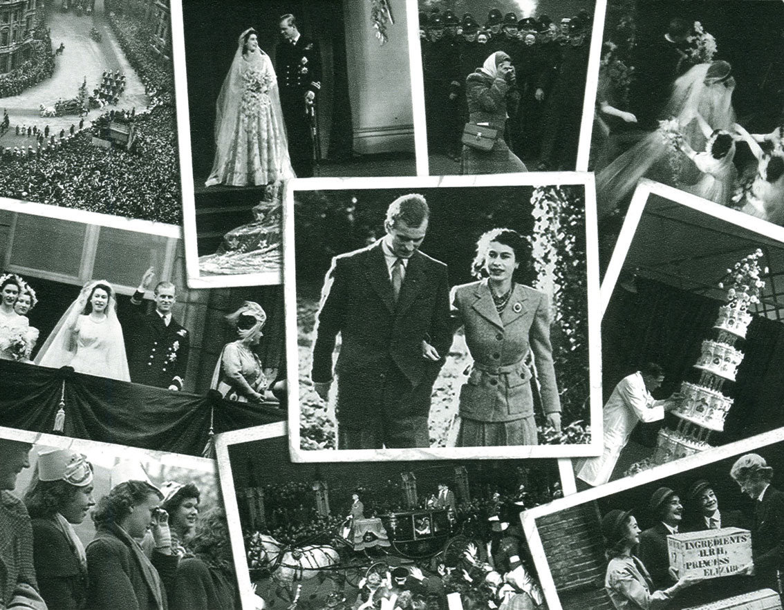 Miniature sheet reverse with black and white photos of the Queen's engagement and wedding.