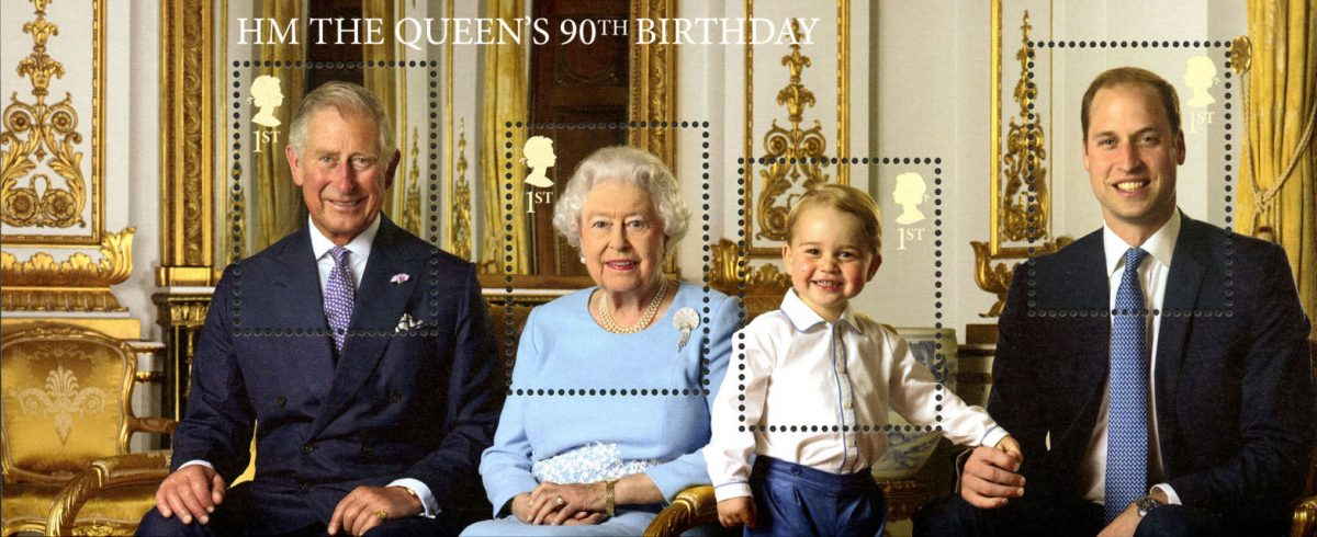 Miniature sheet of the Queen, Prince Charles, Prince William and Prince George.