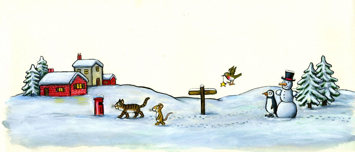 Painting of a cat, mouse, penguin and snowman in a snowy scene.