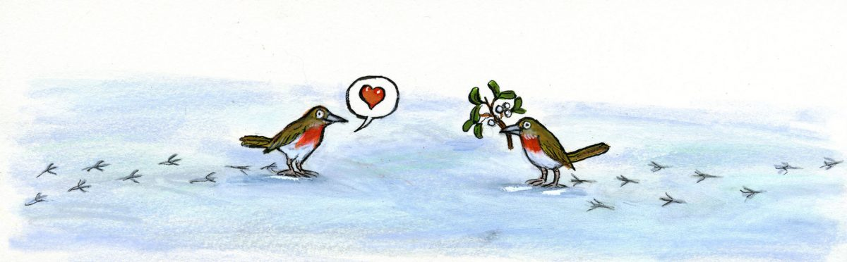 Painting of two robins with mistletoe.