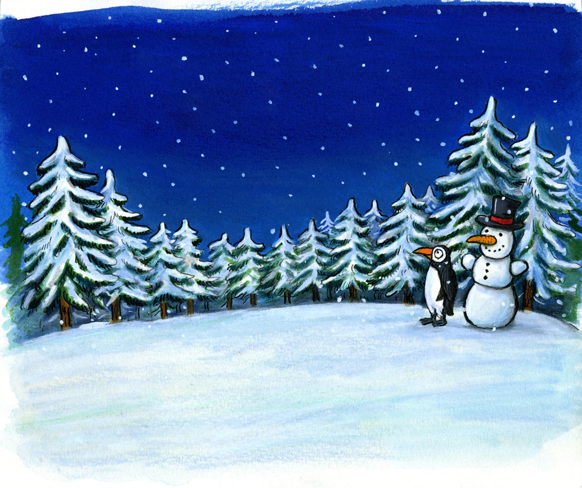 Painting of a snowman and penguin in the forest with trees.