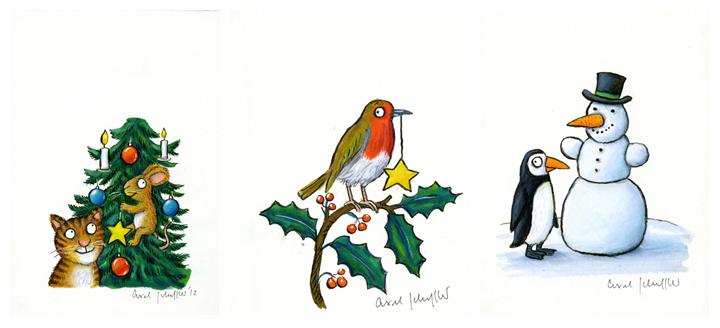 Three paintings; a cat and mouse, a robin on holy and a snowman with a penguin,