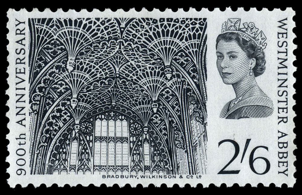 Stamp depicting the fan vaulted ceiling in Westminster Abbey.