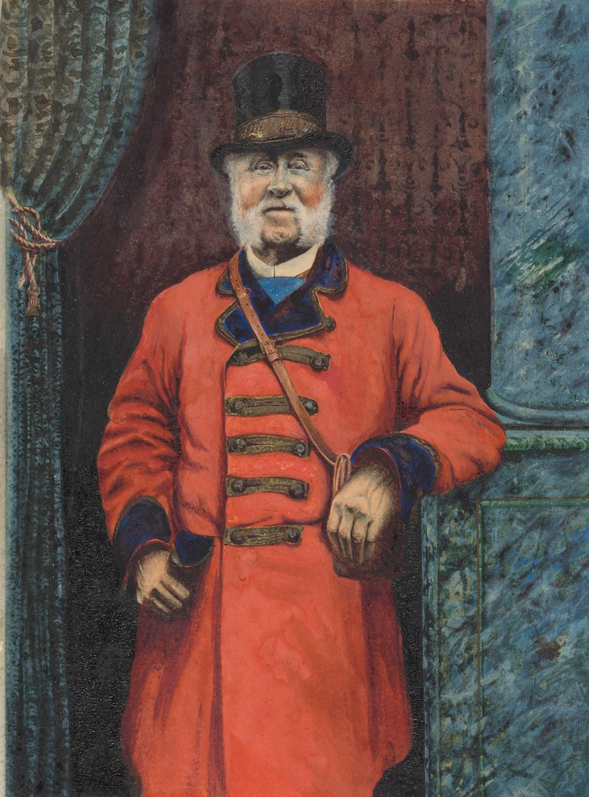 Moses James Nobbs, last of the Mail Coach Guards. Watercolour Painting by H E Brown. c 1890