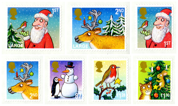 Seven stamps by Axel Scheffler featuring Father Christmas, reindeer and snowmen.