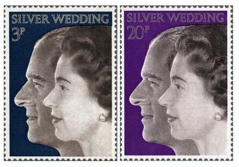 Two stamps depicting Queen Elizabeth II and Prince Philip for their silver wedding anniversary.