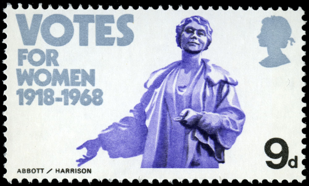 Issued stamp design of the Emmeline Pankhurst statue for the British Anniversaries stamp issue of 1968.