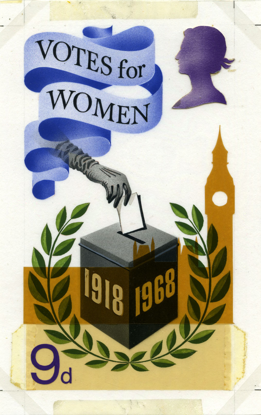 A stamp design by Jeffery Matthews with a female hand putting a ballot into a box.