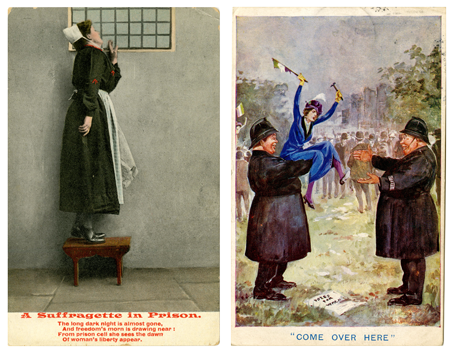Two postcards; one depicting a Suffragette in prison and the other a Suffragette being held by a policeman.