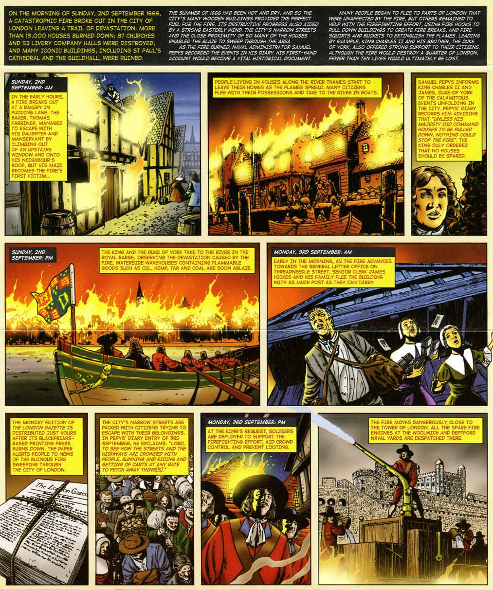 The illustrated graphic novel of the story of the Great Fire of London within the issued presentation pack.