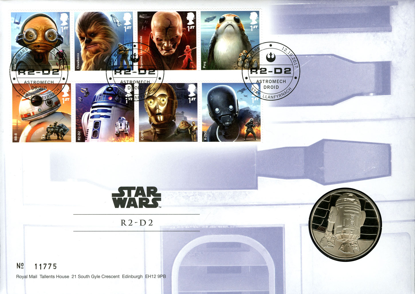 Star Wars 2017 coin cover with the issued stamps and the R2D2 medal.