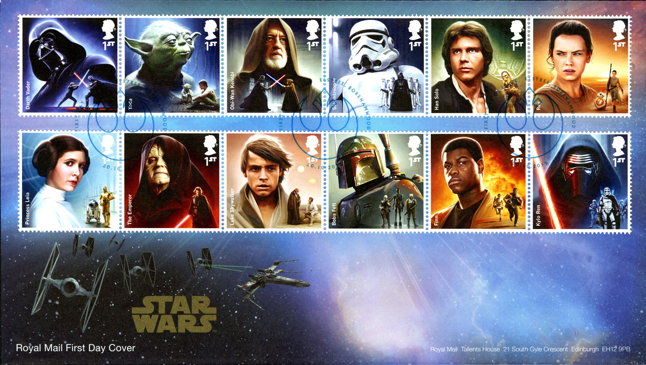 A first day cover of the 2015 Star Wars issue, which consists of an envelope with the issued stamps.
