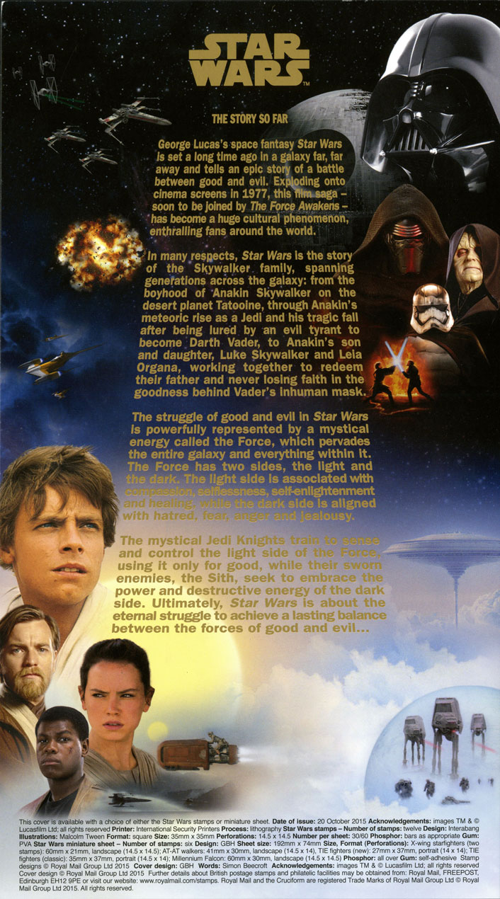 The information insert that comes with the 2015 Star Wars first day cover.