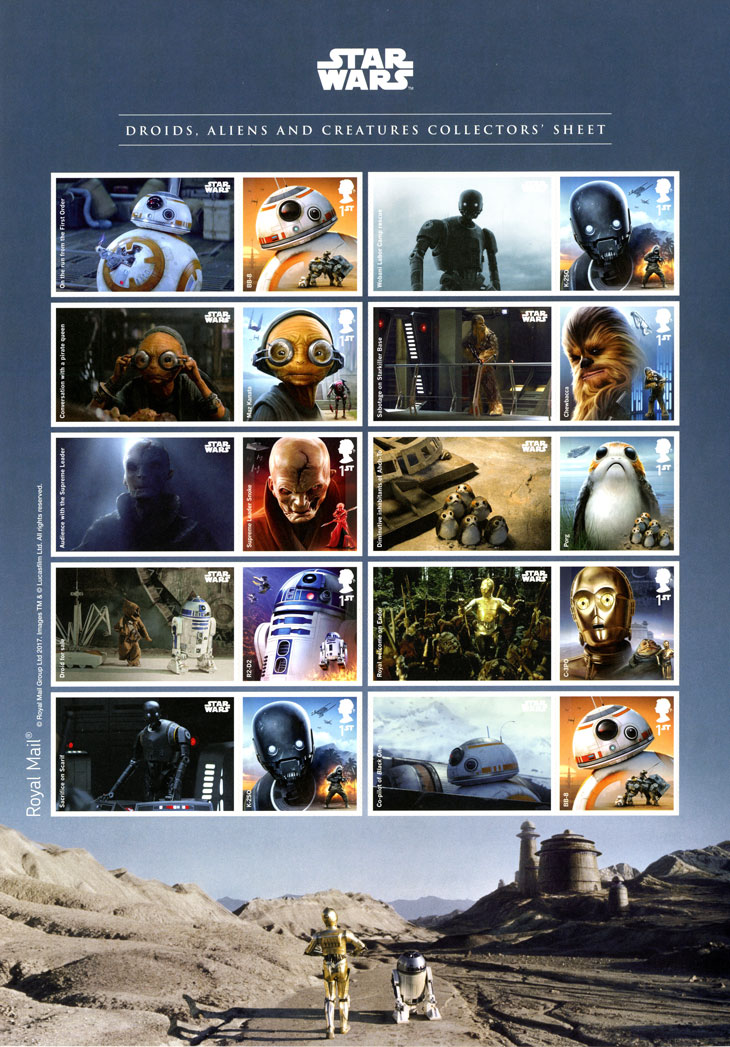 Image of a sheet of generic stamps which include Star Wars stamps and labels.