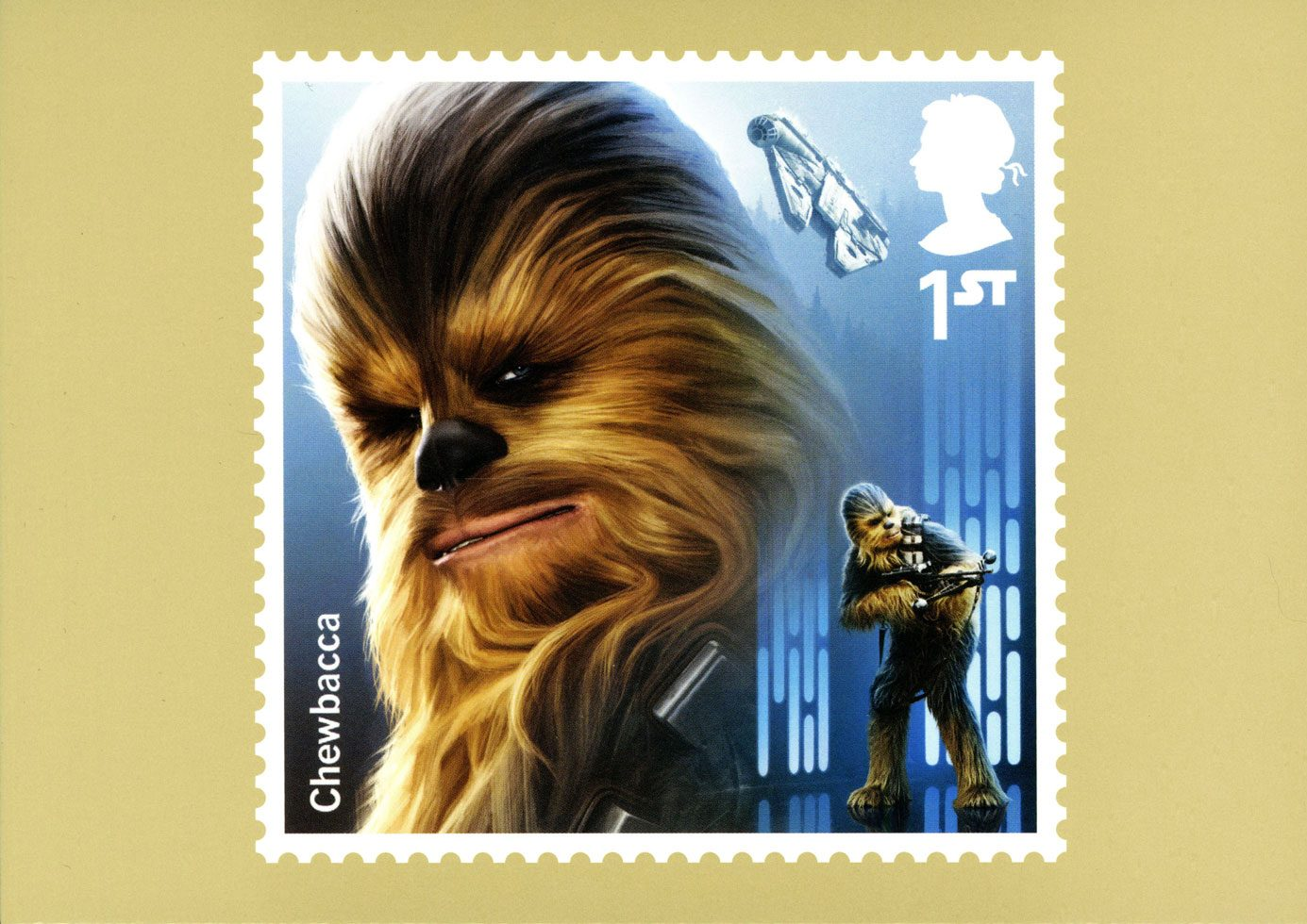 Image of the front of a Chewbacca stamp card from the Star Wars 2017 issue.
