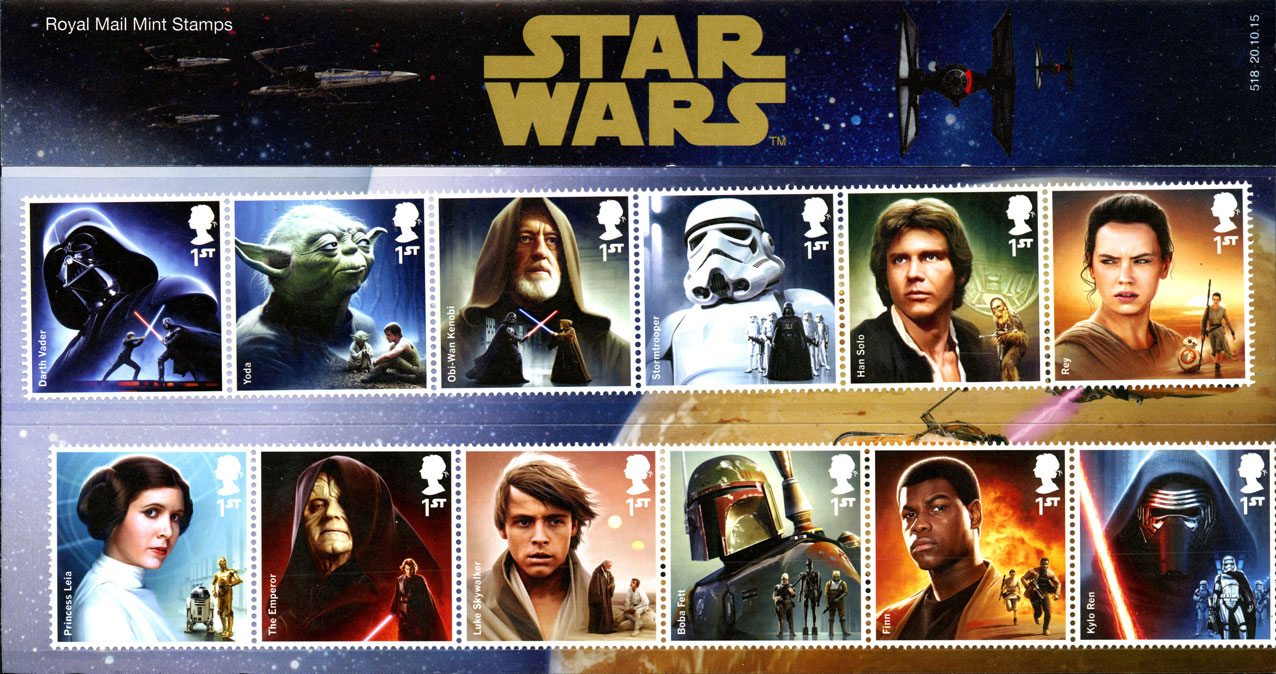 A presentation pack from the 2015 Star Wars issue with the issued stamps on the front.