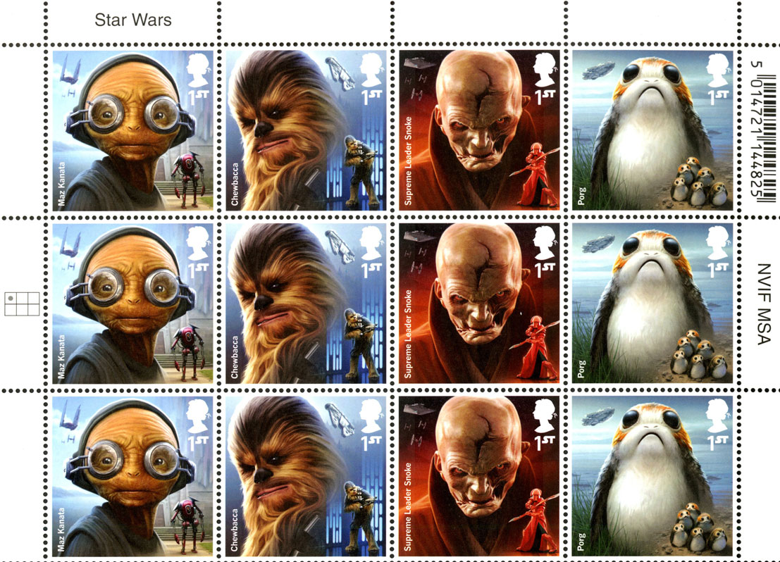 Block of stamps featuring characters from the 2017 Star Wars movie.