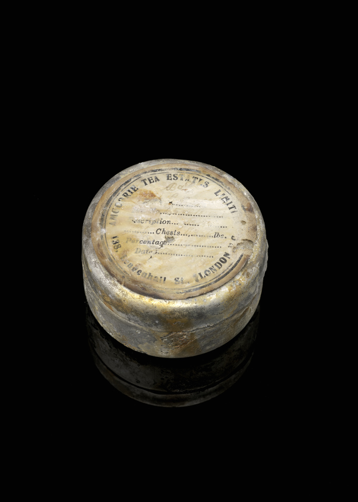 Photograph of a tea tin that was rescued from the sunken SS Gairsoppa.