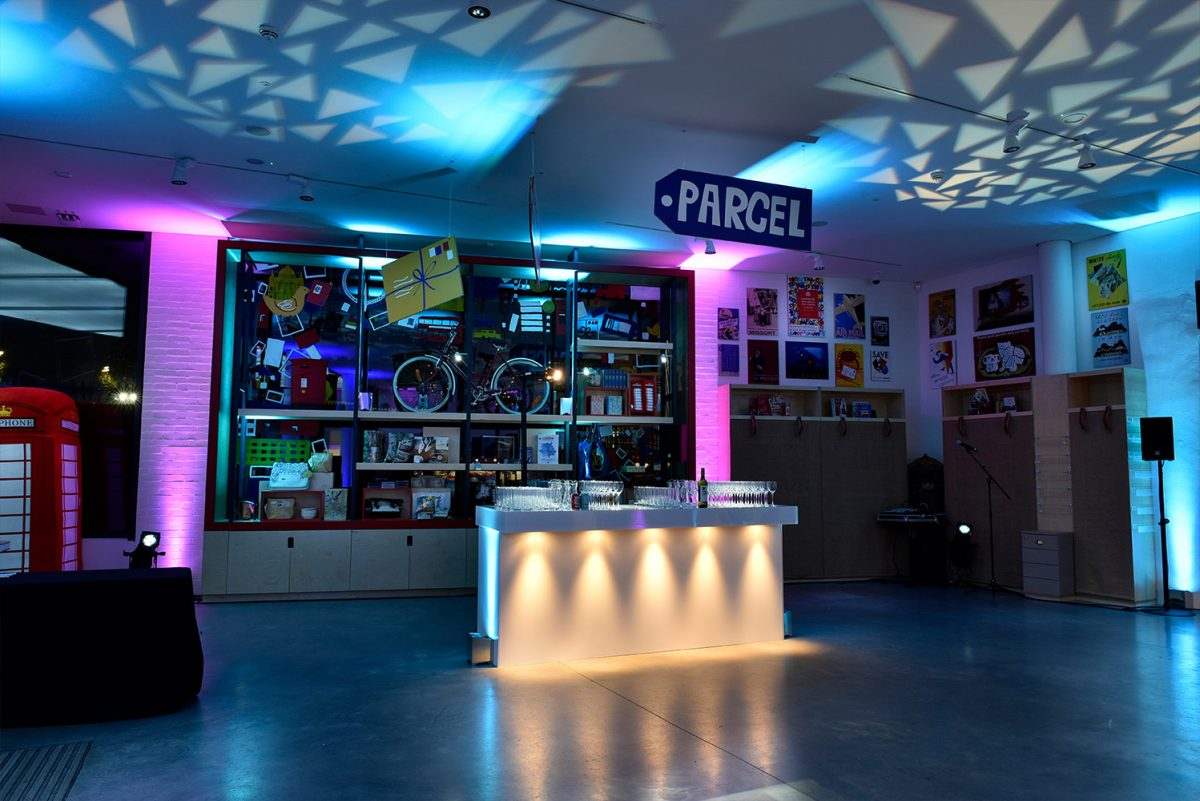 The Welcome Space with blue lighting
