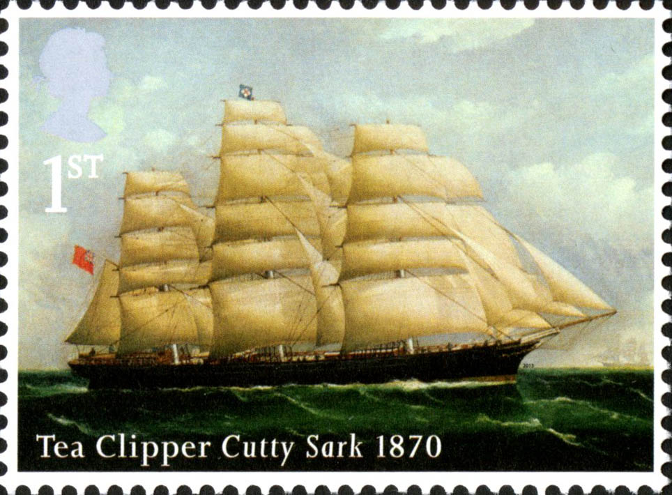 Stamp depicting a painting of the Cutty Sark at sea.