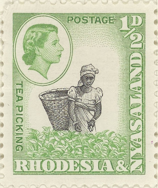 Stamp depicting a female tea picker with basket.