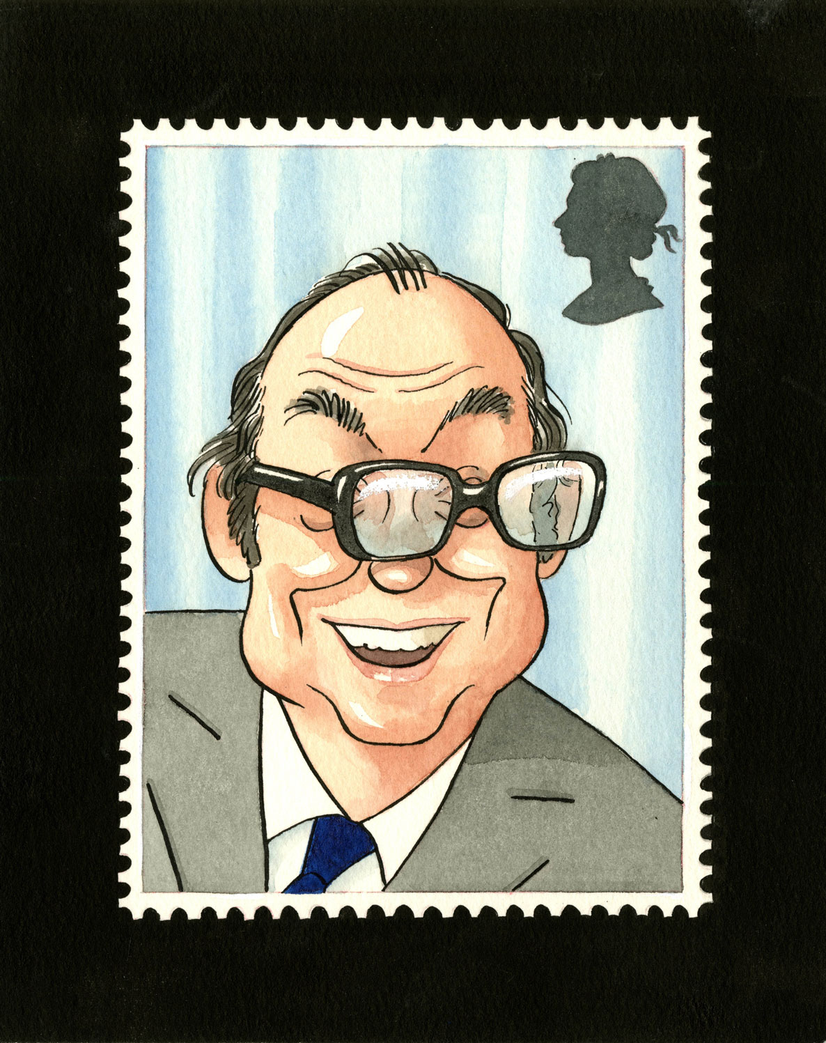 Painting by Roger Brookes of Eric Morecombe with his glasses skewed.