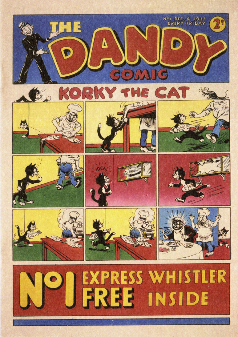 Image of cover of a reproduction of first Dandy Comic that was produced in 1937.