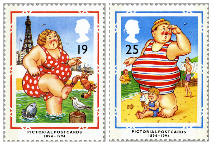 Two stamps depicting a women being bitten by a crab and a man looking for his son.