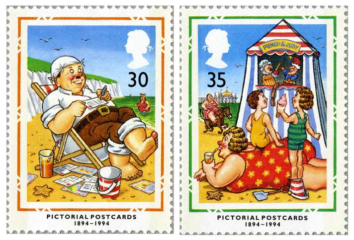 Two stamps depicting a man in a deck chair and children watching a Punch & Judy show.