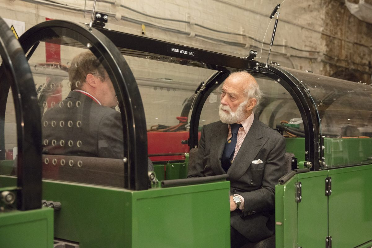 HRH Prince Michael of Kent on a Mail Rail train