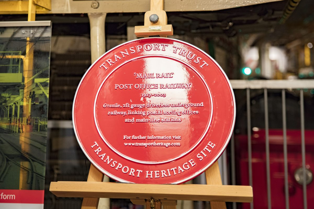 Red Wheel heritage plaque at Mail Rail