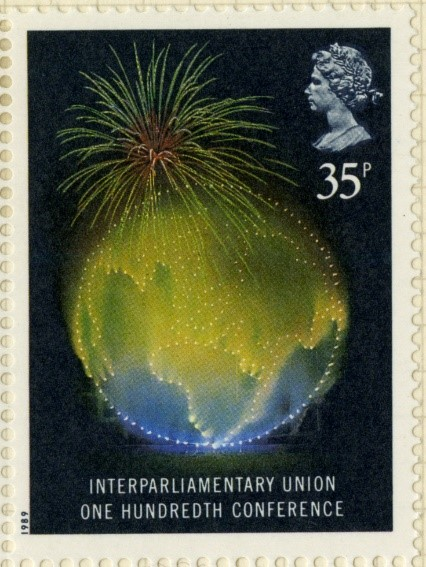 stamp with globe
