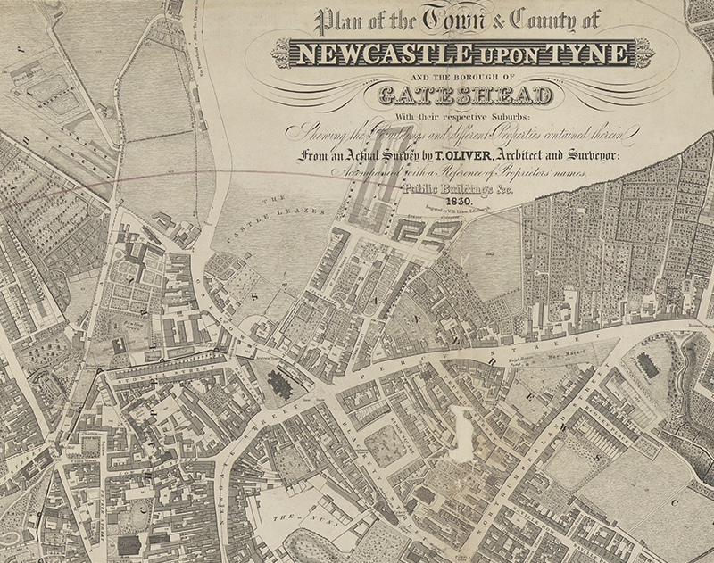 Close up on a plan of Newcastle Upon Tyne, 1837 (POST 21/349)