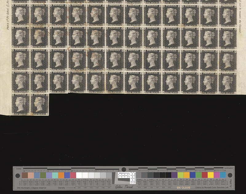 Sheet of Penny Black stamps