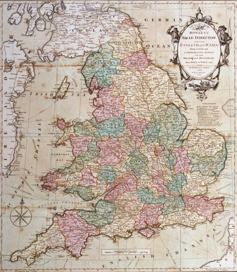 'Bowles's road directory through England and Wales being a new & comprehensive display of the roads & distances from town to town and of each remarkable place from London'. 1796. Printed and coloured. (POST 21/159)